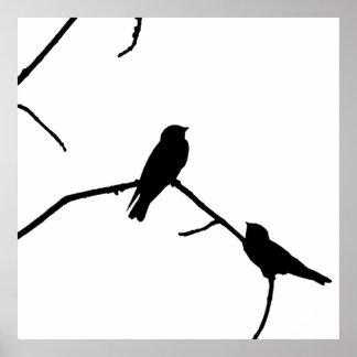 Paires noires et blanches de silhouette poster