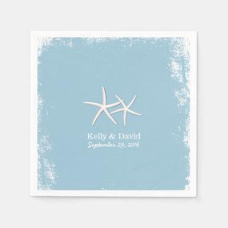 Paires rustiques de mariage de plage d'étoiles de serviettes jetables