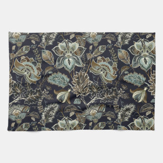 Paisley antique fleurit le motif noir d'arrière - linge de cuisine