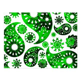 Paisley avec le modèle vert de remous cartes postales