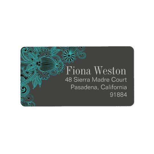 Paisley aztèque - gris turquoise étiquette d'adresse
