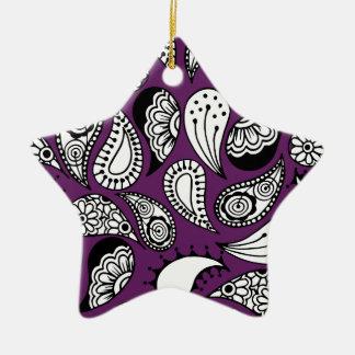 Paisley pourpre foncé ornement étoile en céramique