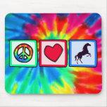 Paix, amour, chevaux tapis de souris