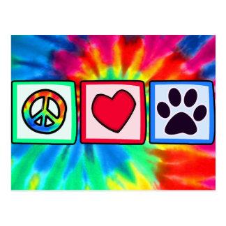 Paix, amour, chien ; Pawprint Carte Postale