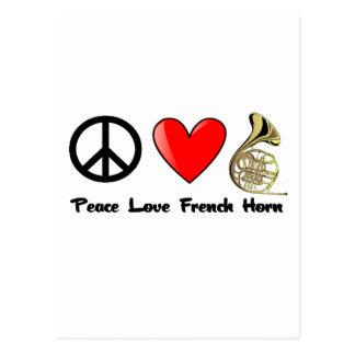 Paix, amour, cor de harmonie carte postale