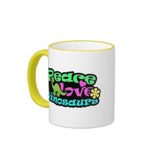 Paix, amour, dinosaures mug