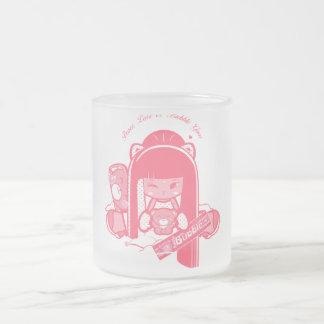 """Paix, amour et Bubblegum de """"Shokio"""" Mug En Verre Givré"""