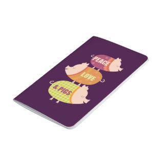 Paix, amour et porcs (pile) carnet de poche
