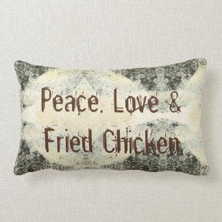 Paix, amour et poulet frit coussins carrés
