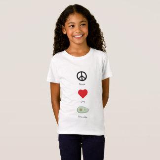 Paix, amour, et T-shirt de l'enfant d'avocats