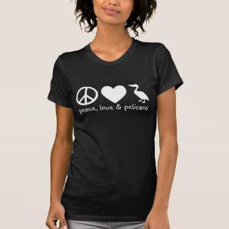 Paix, amour et T-shirt de pélicans