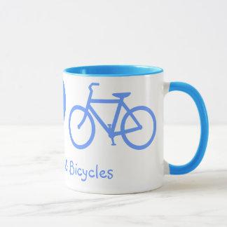 Paix, amour et tasse de bicyclettes
