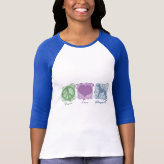 Paix, amour, et whippets en pastel t-shirt