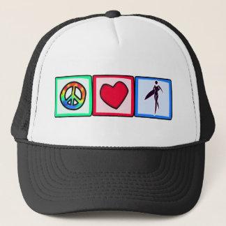 Paix, amour, filles de surfer casquette