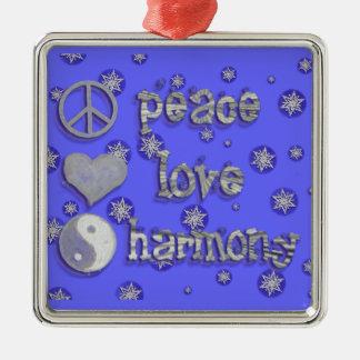 Paix, amour, harmonie ornement carré argenté