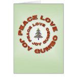 Paix, amour, joie, arbre de Gumbo Fleur de Lis Carte De Vœux