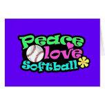 Paix, amour, le base-ball cartes de vœux