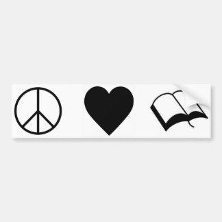 Paix, amour, livres/lecture autocollant de voiture