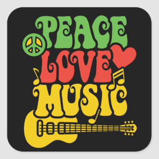 Paix-Amour-Musique de Rasta Sticker Carré