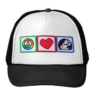 Paix, amour, naviguant casquette de camionneur