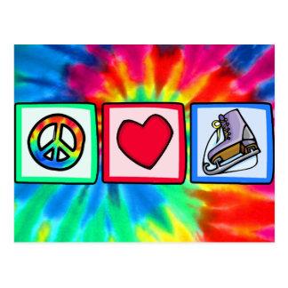 Paix, amour, patin de glace carte postale