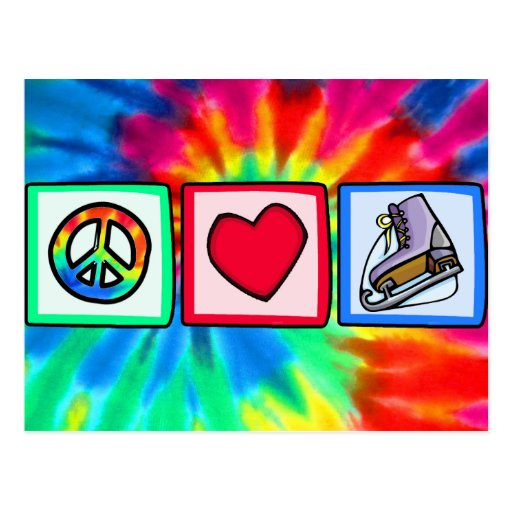 Paix, amour, patin de glace cartes postales