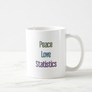 Paix, amour, statistiques mug