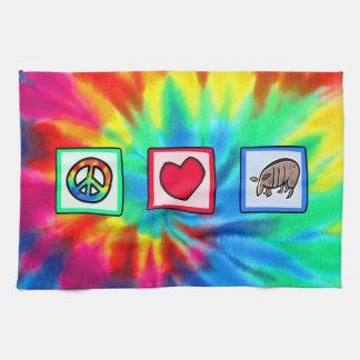 Paix, amour, tatous serviettes éponge