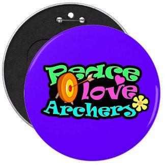 Paix, amour, tir à l'arc badges