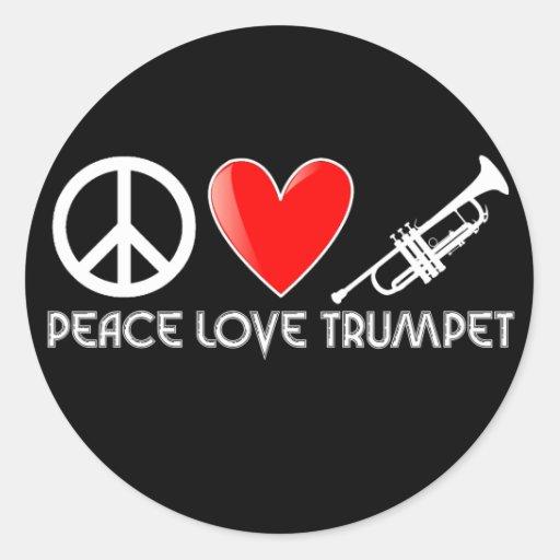 Paix, amour, trompette adhésif rond