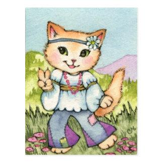 Paix - art mignon de chat de la hippie 60s cartes postales