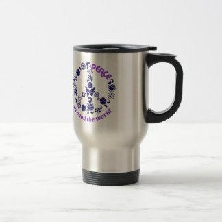 Paix autour du monde mug de voyage