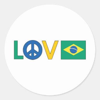 Paix Brésil d'amour Sticker Rond