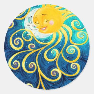 paix d'amour du soleil et de lune de bande sticker rond