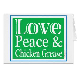 Paix d'amour et carte de graisse de poulet