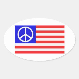 Paix de drapeau des USA Stickers Ovales