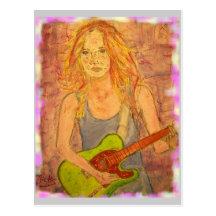 Paix de fille de guitare sur terre carte postale