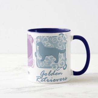 Paix en pastel, amour, et chiens d'arrêt d'or mug