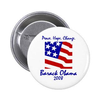 Paix, espoir, boutons d'Obama de changement Badge