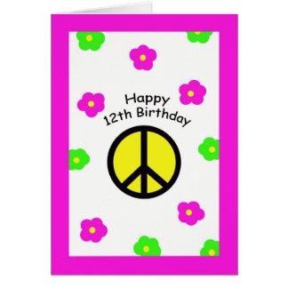 Paix et 12ème carte d'anniversaire de fleurs
