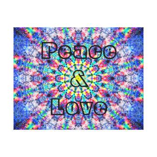 Paix et amour colorés toile