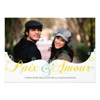 Paix et D amour Carte de Noël Invitations