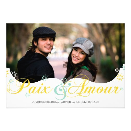 Paix et D'amour Carte de Noël Invitations