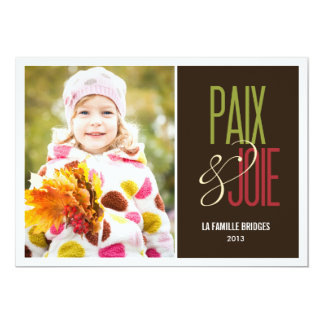 Paix et joie cartes de photo de vacances carton d'invitation  12,7 cm x 17,78 cm