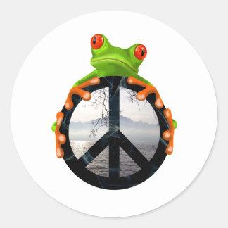 paix frog1 sticker rond