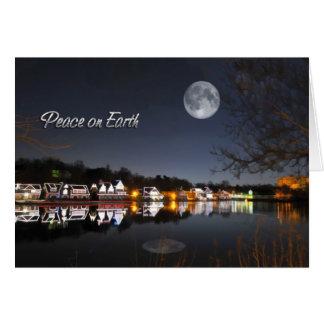 Paix froide de rangée de Boathouse de nuit d'hiver Carte De Vœux