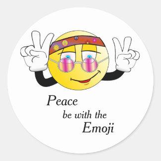 """""""Paix"""" hippie Emoji Sticker Rond"""