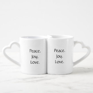 Paix, joie, ensemble de tasse d'amour