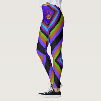 Paix rayée de couleur leggings