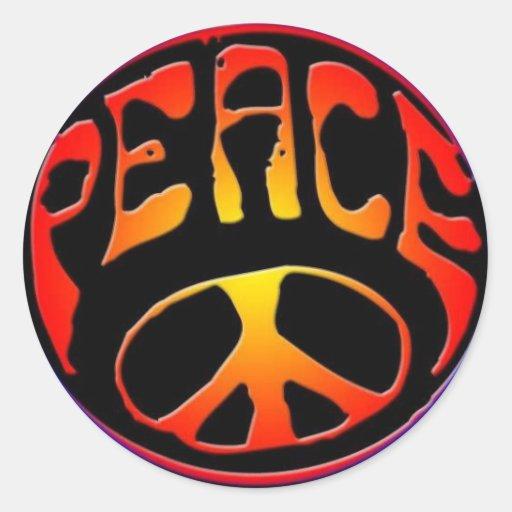 paix-signe autocollant rond